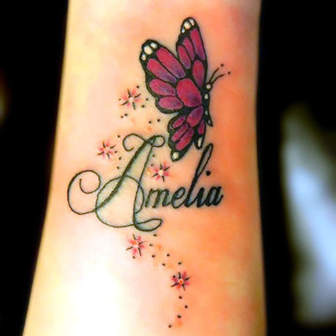 Butterfly With Name on Arm Tattoo