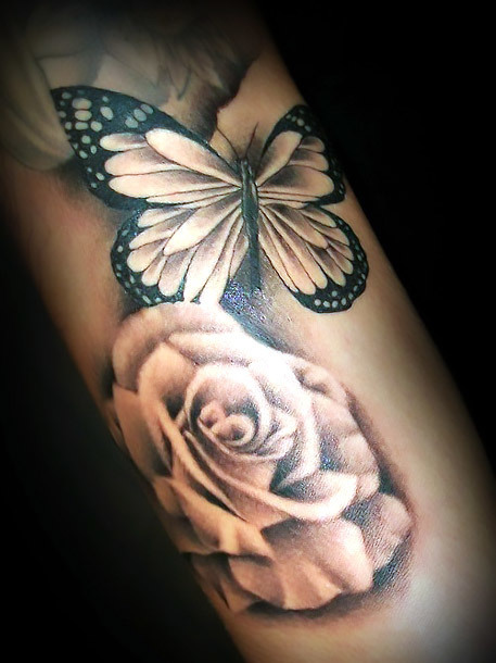 Butterfly Flowers Rose Tattoo Idea