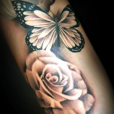 Butterfly Flowers Rose Tattoo
