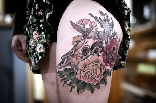 Peony and Poppy With Bull Skull Tattoo Idea