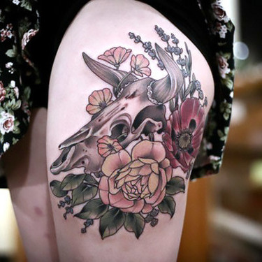 Peony and Poppy With Bull Skull Tattoo