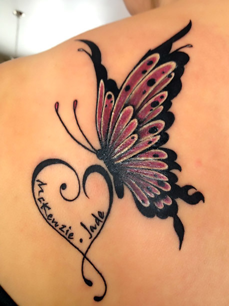Butterfly With Names Tattoo Idea