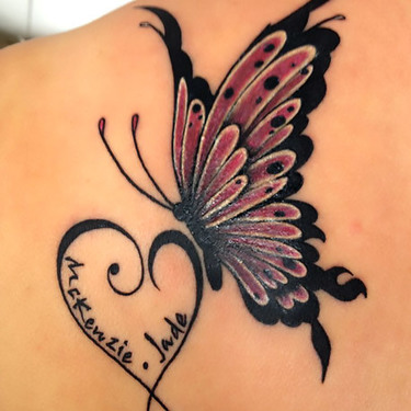 Butterfly With Names Tattoo