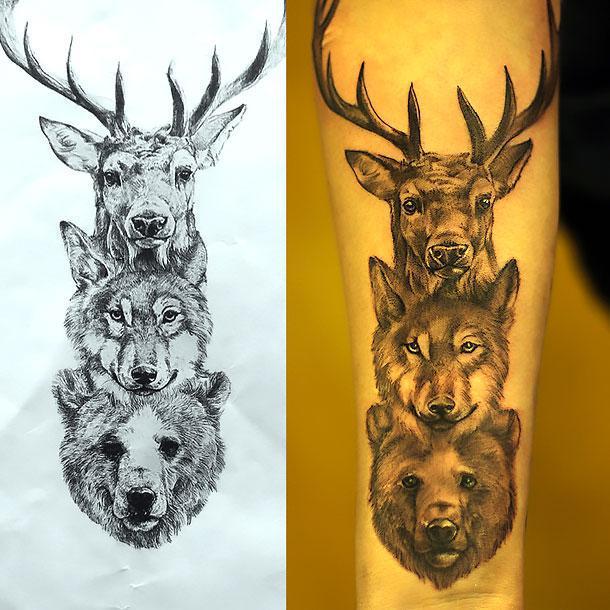 Animals Heads Tattoo Idea