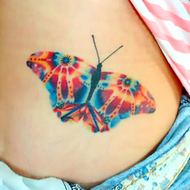 Colorful Psychedelic Abstract Butterfly Tattoo