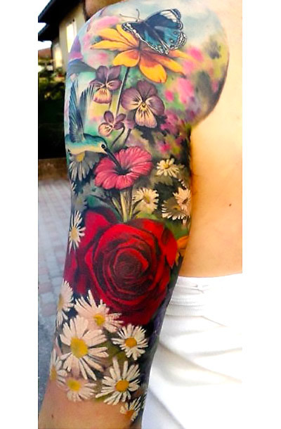 Colorful Sleeve Butterfly and Flowers Tattoo Idea