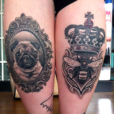 Queen Bee and Dog Tattoo