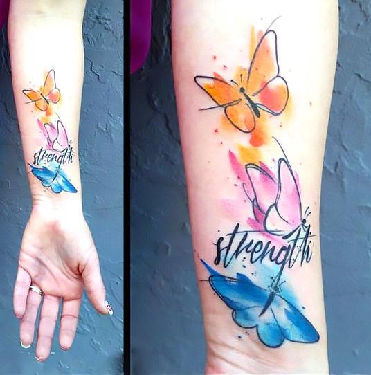 Colorful Watercolor Butterflies Tattoo Idea