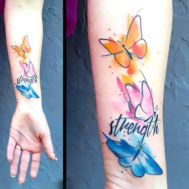 Colorful Watercolor Butterflies Tattoo