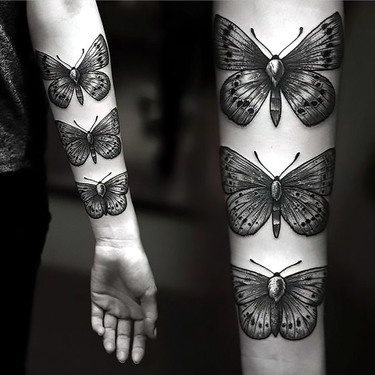 Cool Moths on Arm Tattoo
