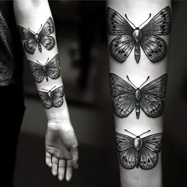 Cool Moths on Arm Tattoo