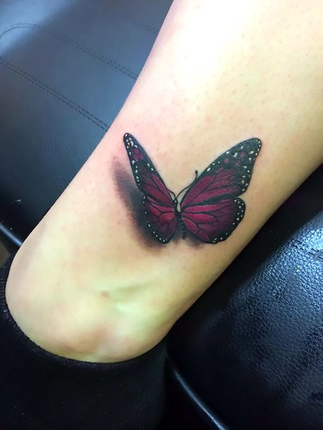 Cool Butterfly on Ankle Tattoo Idea