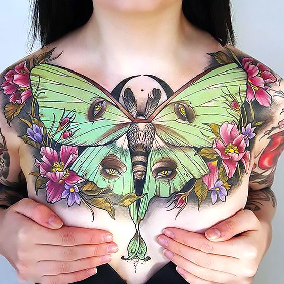 Cool Large Butterfly on Chest Tattoo Idea