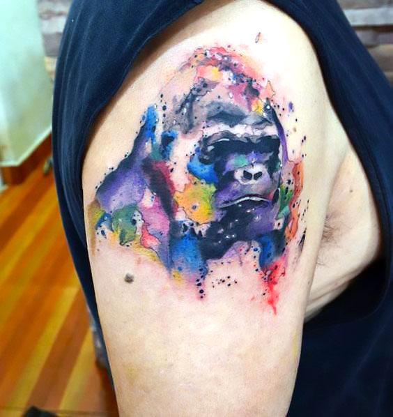 Aquarelle Gorilla Tattoo Idea