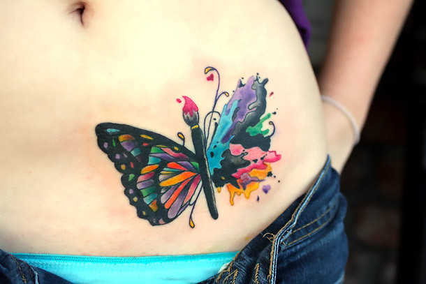Cool Colorful Butterfly on Belly Tattoo Idea