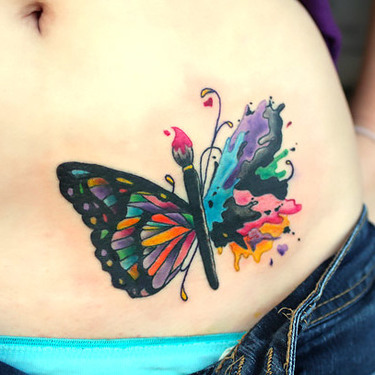 Cool Colorful Butterfly on Belly Tattoo