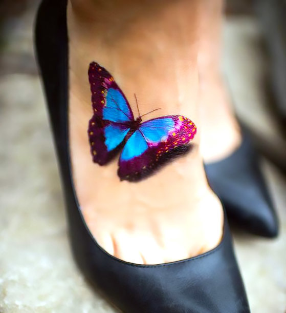 Cute 3D Butterfly on The Foot Tattoo Idea