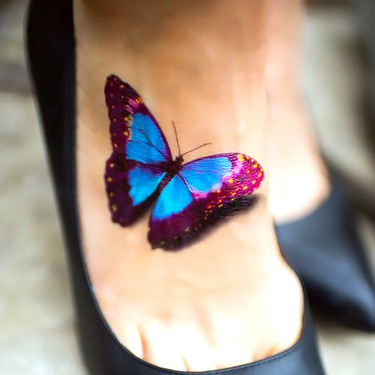 Cute 3D Butterfly on The Foot Tattoo