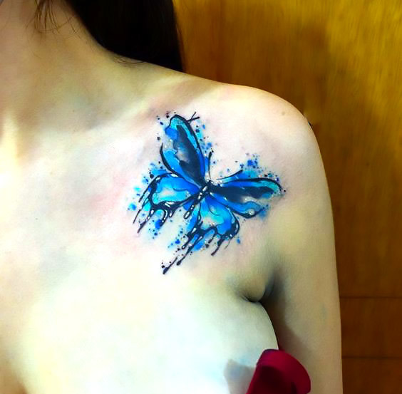 Cute Blue Watercolor Butterfly Tattoo Idea