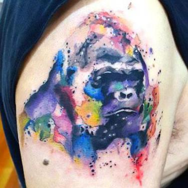Aquarelle Gorilla Tattoo