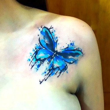 Cute Blue Watercolor Butterfly Tattoo