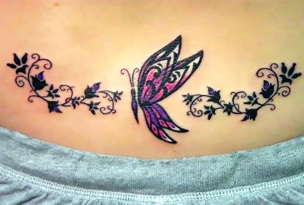 Cute Butterfly Tramp Stamp Tattoo Idea