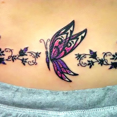 Cute Butterfly Tramp Stamp Tattoo