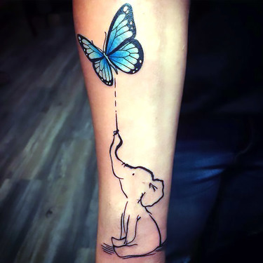 Cute Little Butterfly and Elephant Tattoo