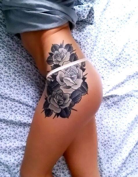 Beautiful Flowers on Hip Tattoo Idea