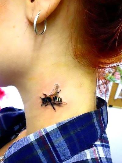 Realistic Bee on The Neck Tattoo Idea