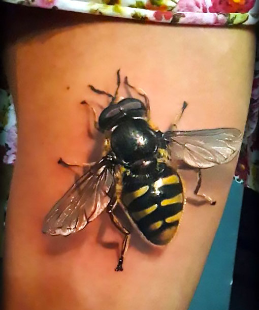 Realistic Big Bee Tattoo Idea