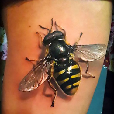 Realistic Big Bee Tattoo