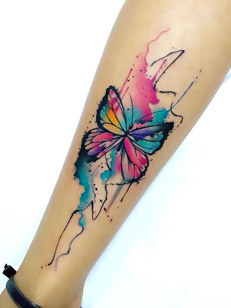 Cute Watercolor Butterfly on Shin Tattoo Idea