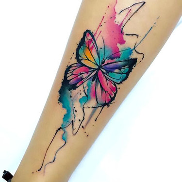 Cute Watercolor Butterfly on Shin Tattoo