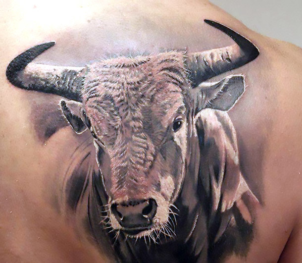 Realistic Bull Head Tattoo Idea