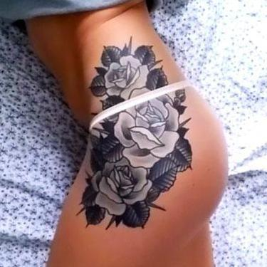 Beautiful Flowers on Hip Tattoo