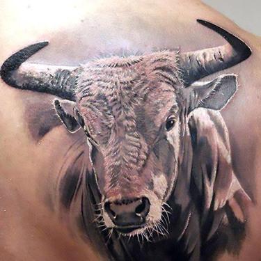 Realistic Bull Head Tattoo
