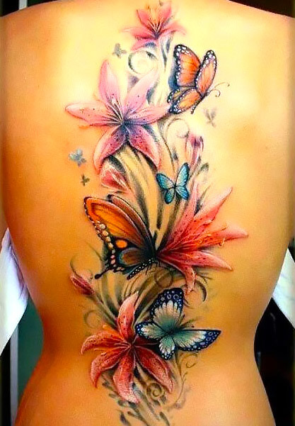 Flowers and Butterflies Tattoo Idea