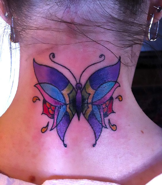 Girly Neck Butterfly Tattoo Idea