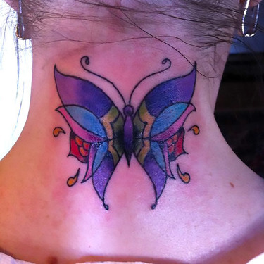Girly Neck Butterfly Tattoo