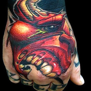 Red Bull Head Tattoo