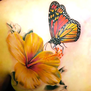 Lily and Monarch Butterfly Tattoo