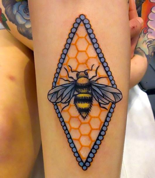 Rhomb Honey Bee Tattoo Idea
