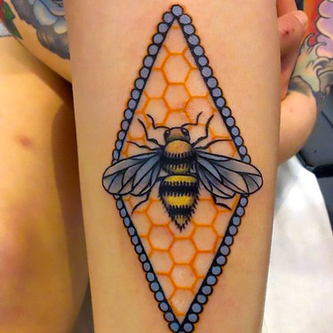 Rhomb Honey Bee Tattoo
