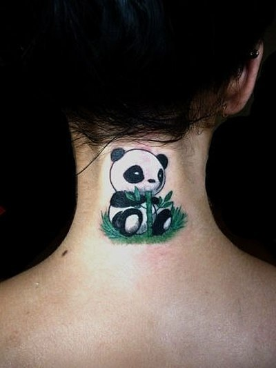Little Panda Bear With Bamboo Tattoo Idea