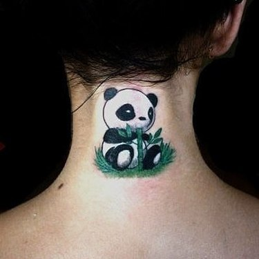 Little Panda Bear With Bamboo Tattoo