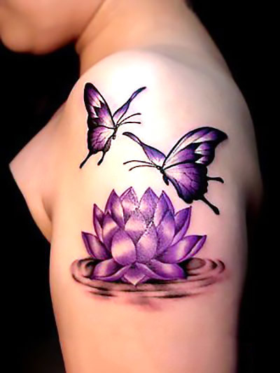 Lotus Flower and Butterfly Tattoo Idea