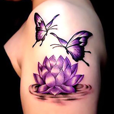 Lotus Flower and Butterfly Tattoo