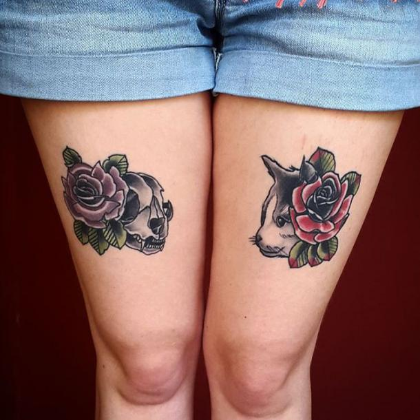 Cat and Roses Tattoo Idea