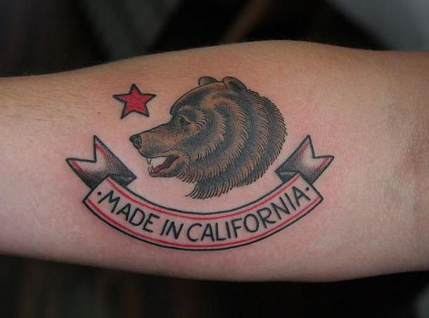 Made In California Bear Tattoo Idea